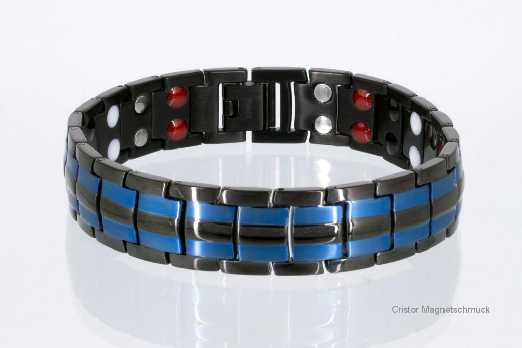 TE8901Blblaub - Titan-Energiearmband schwarz mit blau