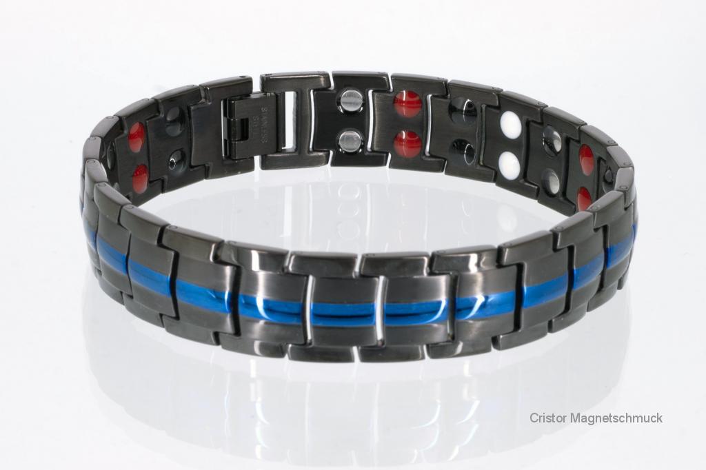 E8901BLblaub - 4-Elemente Armband schwarz mit blau