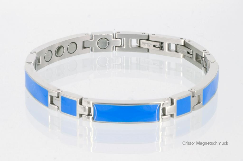8287Sb - Silberfarbenes Magnetarmband mit blauer Emailleeinlage
