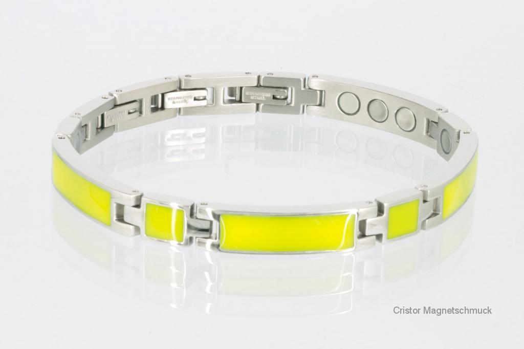 8287Sc - Silberfarbenes Magnetarmband mit gelbgrüner Emailleeinlage