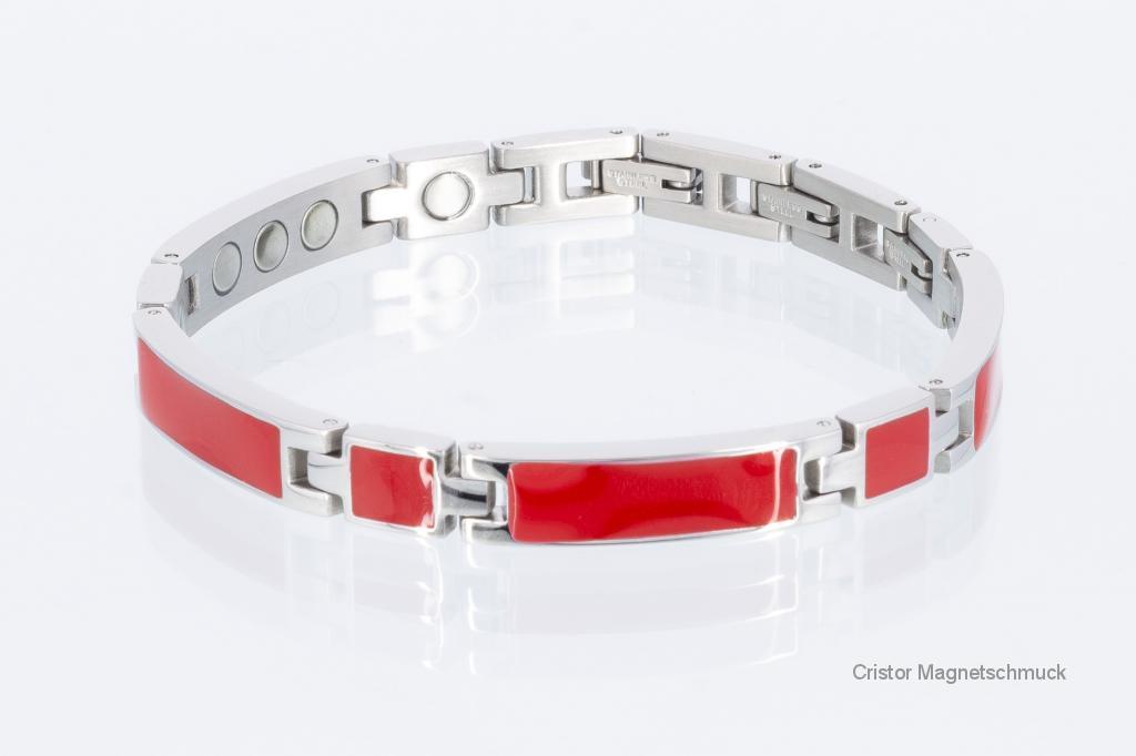 8287Sd - Silberfarbenes Magnetarmband mit roter Emailleeinlage