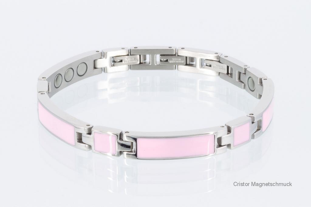 8287Se - Silberfarbenes Magnetarmband mit rosafarbener Emailleeinlage