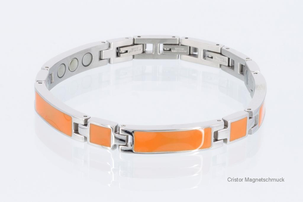 8287Sf - Silberfarbenes Magnetarmband mit orangefarbener Emailleeinlage