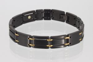 E8255BLG - 4-Elemente Armband gold schwarz