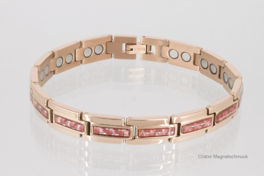 8275RGr - Magnetarmband rosegoldfarben mit roter Carbonfaser