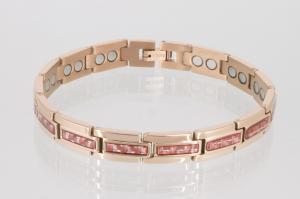 Magnetarmband rosegoldfarben mit roter Carbonfaser - 8275rgr