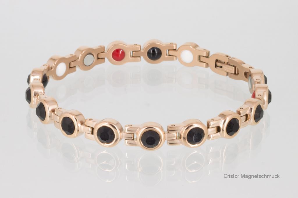 E8052RGZ - 4-Elemente Armband rosegoldfarben mit schwarzenZirkonia