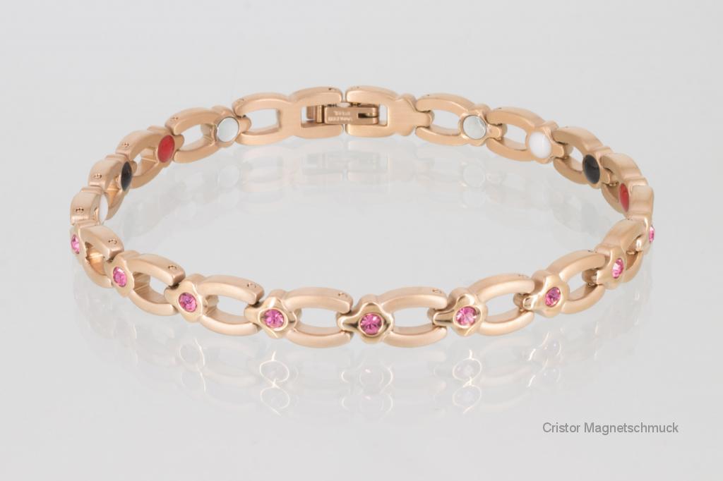 E8139RGZ - 4-Elemente Armband rosegoldfarben mit rosafarbenen Zirkonia