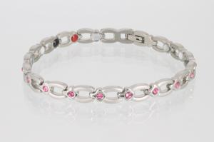 E8139SZ - 4-Elemente Armband silberfarben mit rosafarbenen Zirkonia