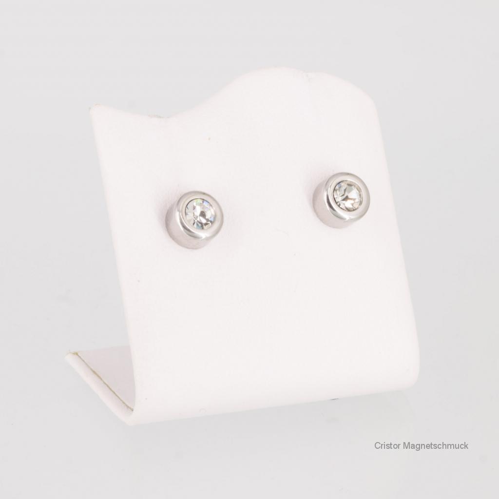 A1284SZSet - Magnetschmuckset silberfarben mit weißen Zirkonia