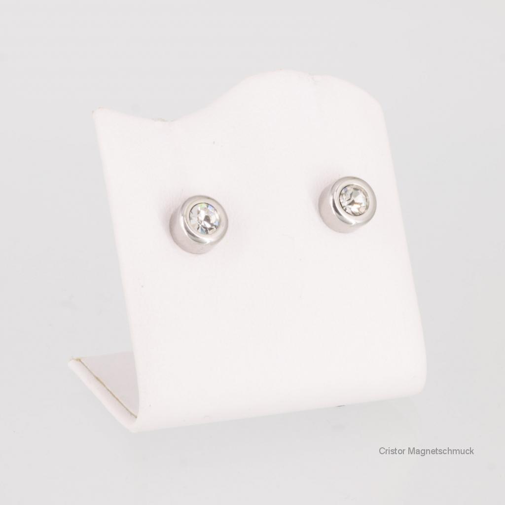 A1282SZaSet - Magnetschmuckset silberfarben mit weißen Zirkonia