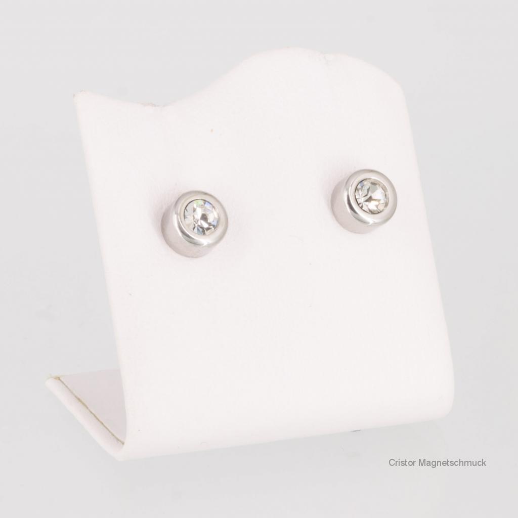 A1284SZaSet2 - Magnetschmuckset silberfarben mit weißen Zirkonia