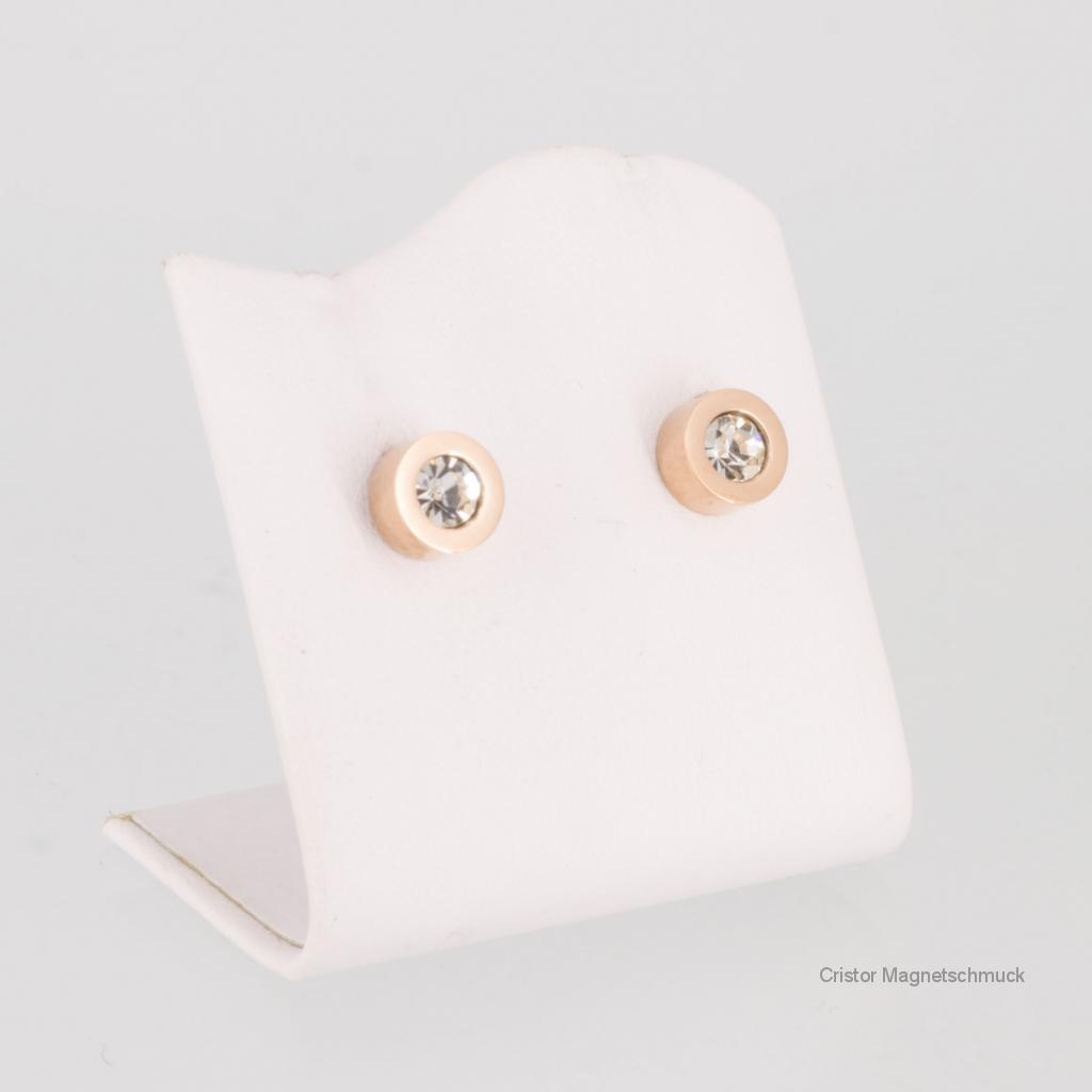 A1282RGZaSet - Magnetschmuckset rosegoldfarben mit weißen Zirkonia