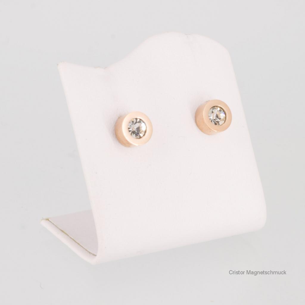 8150RGZSet - Magnetschmuckset rosegold mit weißen Zirkonia