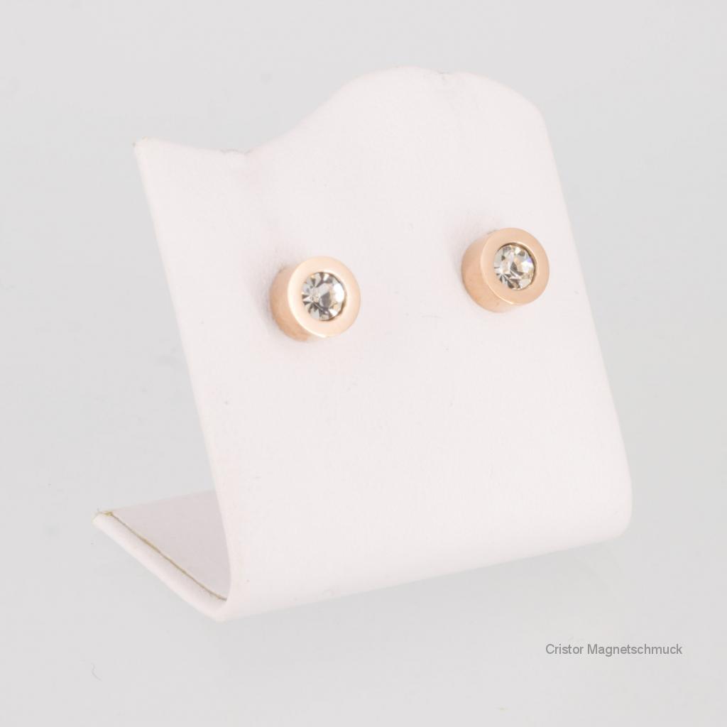 8847RGZSet - Magnetschmuckset rosegold mit weißen Zirkonia