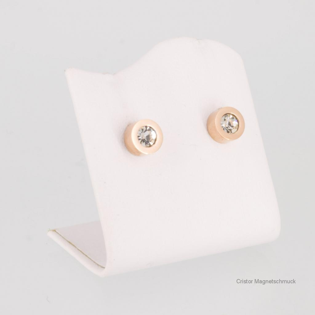 E8178RGZSet - Magnetschmuckset rosegoldfarben mit weißen Zirkonia