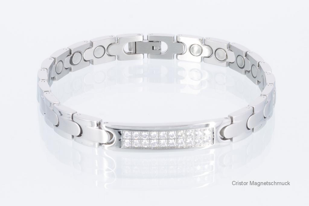 8293SZ - Magnetarmband silberfarben mit weißen Zirkoniasteinen