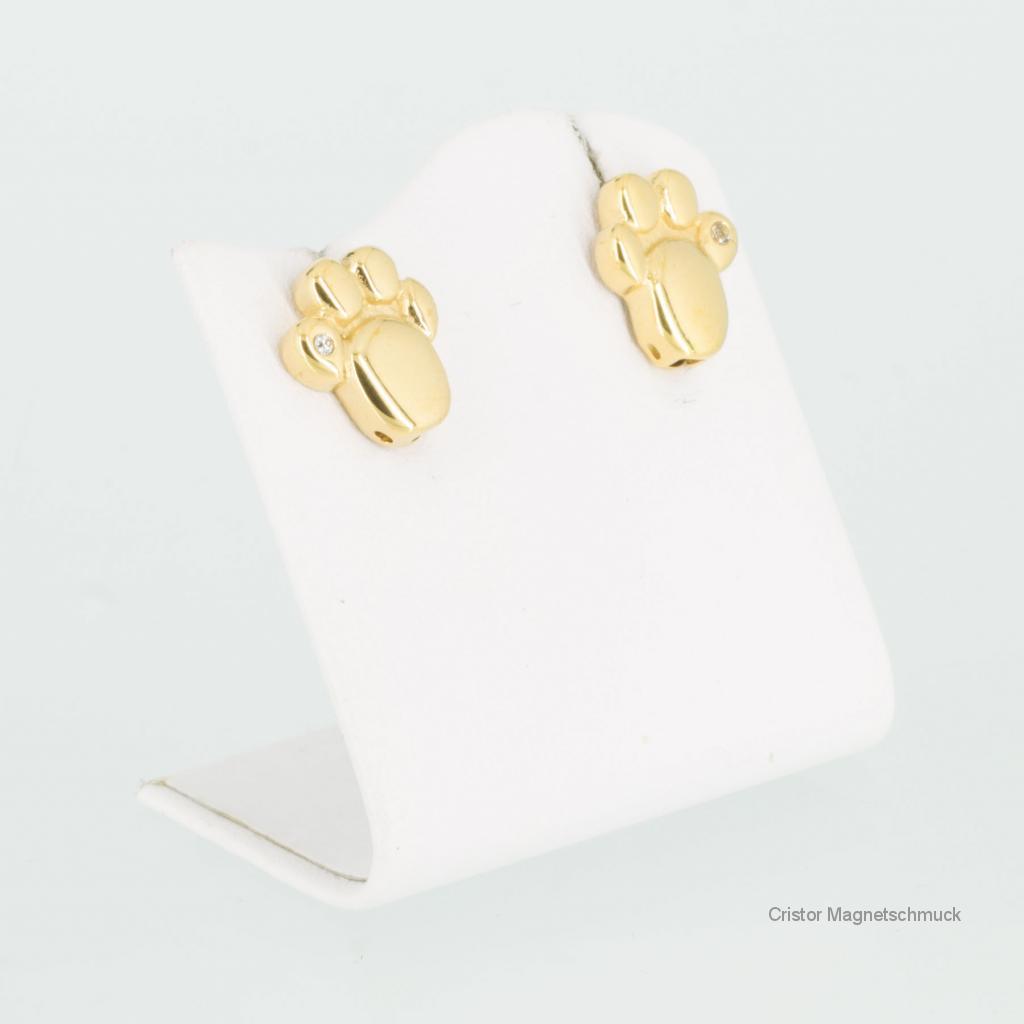 A1714GZ3Set2 - Magnetschmuckset Goldfarben mit weißen Zirkonia