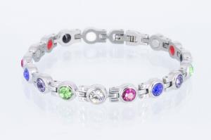 E8382SZ - 4-Elemente Armband silberfarben mit 5 verschiedenfarbigen Zirkoniasteinen