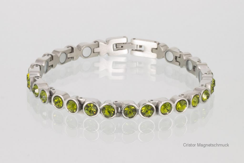 8297SZ - Magnetarmband silberfarben mit olivgrünen Zirkonia