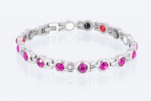 4-Elemente Armband silberfarben mit pinkfarbenen Zirkonia - e8334sz