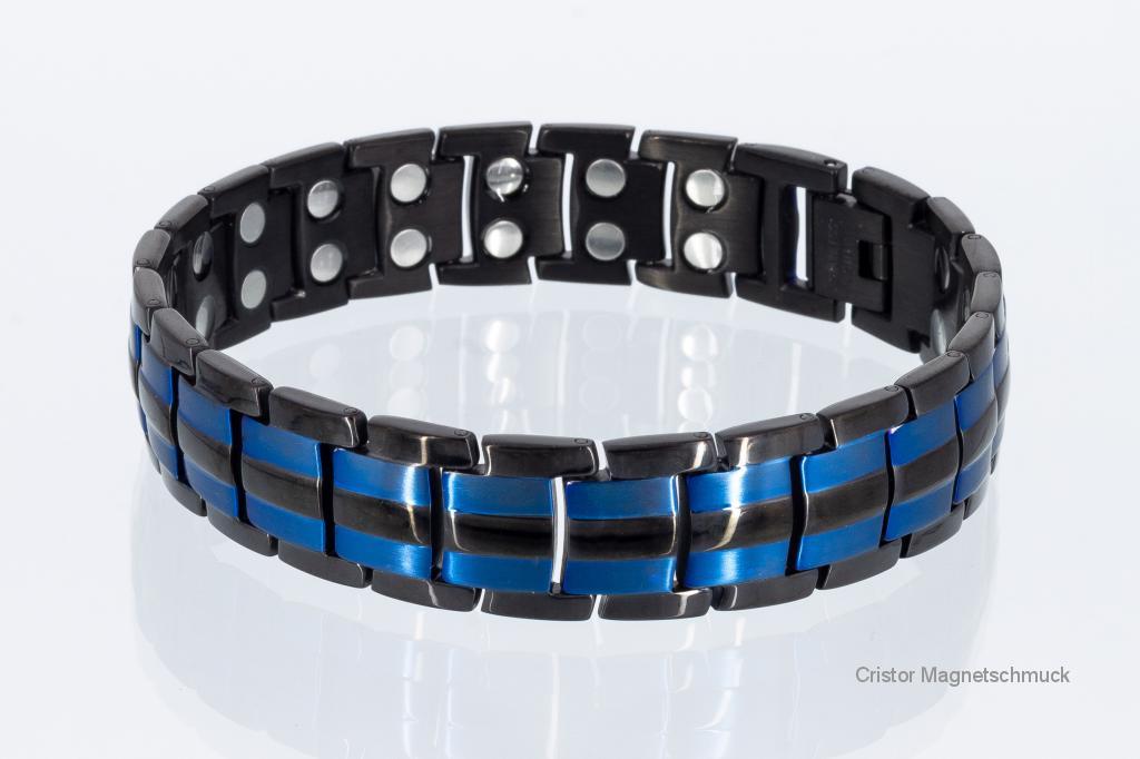 8901Blblaub - Doppelreihiges Magnetarmband schwarz und blaumetallic
