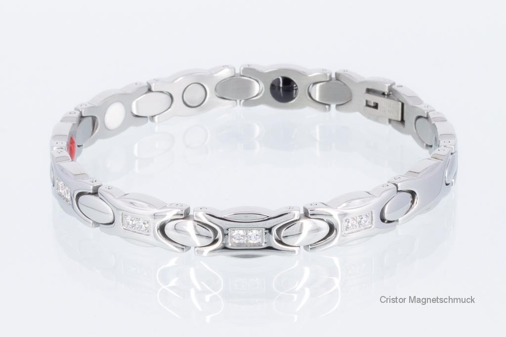 E8294SZ2 - 4-Elemente Armband silberfarben mit weißen Zirkoniasteinen