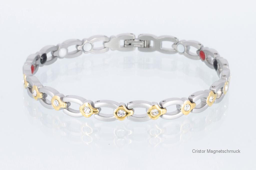 E8139BZ - 4-Elemente Armband bicolor mit weißen Zirkonia
