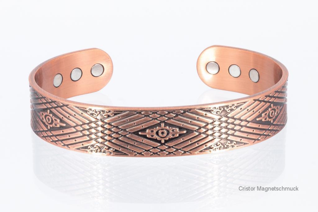 CU8328 - Kupfer-Magnetarmreif mit wunderschönen Ornamenten