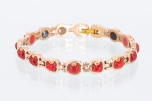 E8339RGZ - 5-Elemente Armband rosegoldfarben mit roten Einlagen und weißen Zirkonia
