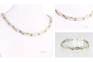 Halskette und Armband im Set bicolor - h9059bset