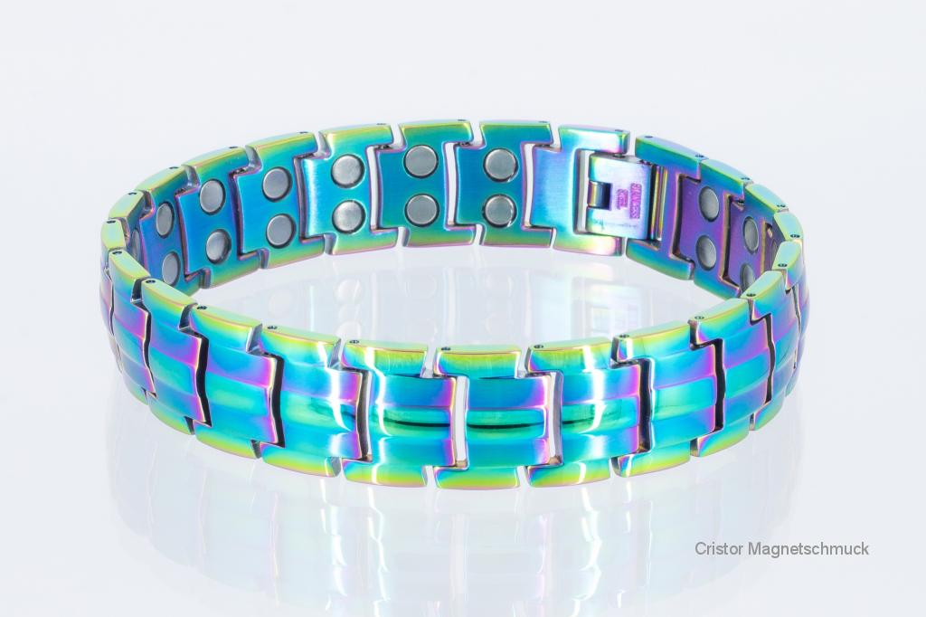 8901M - Doppelreihiges Magnetarmband metallfarbig
