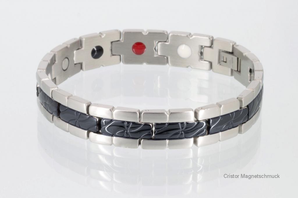 E8131BLSSet - Energiearmband und Ring im Set schwarz silber