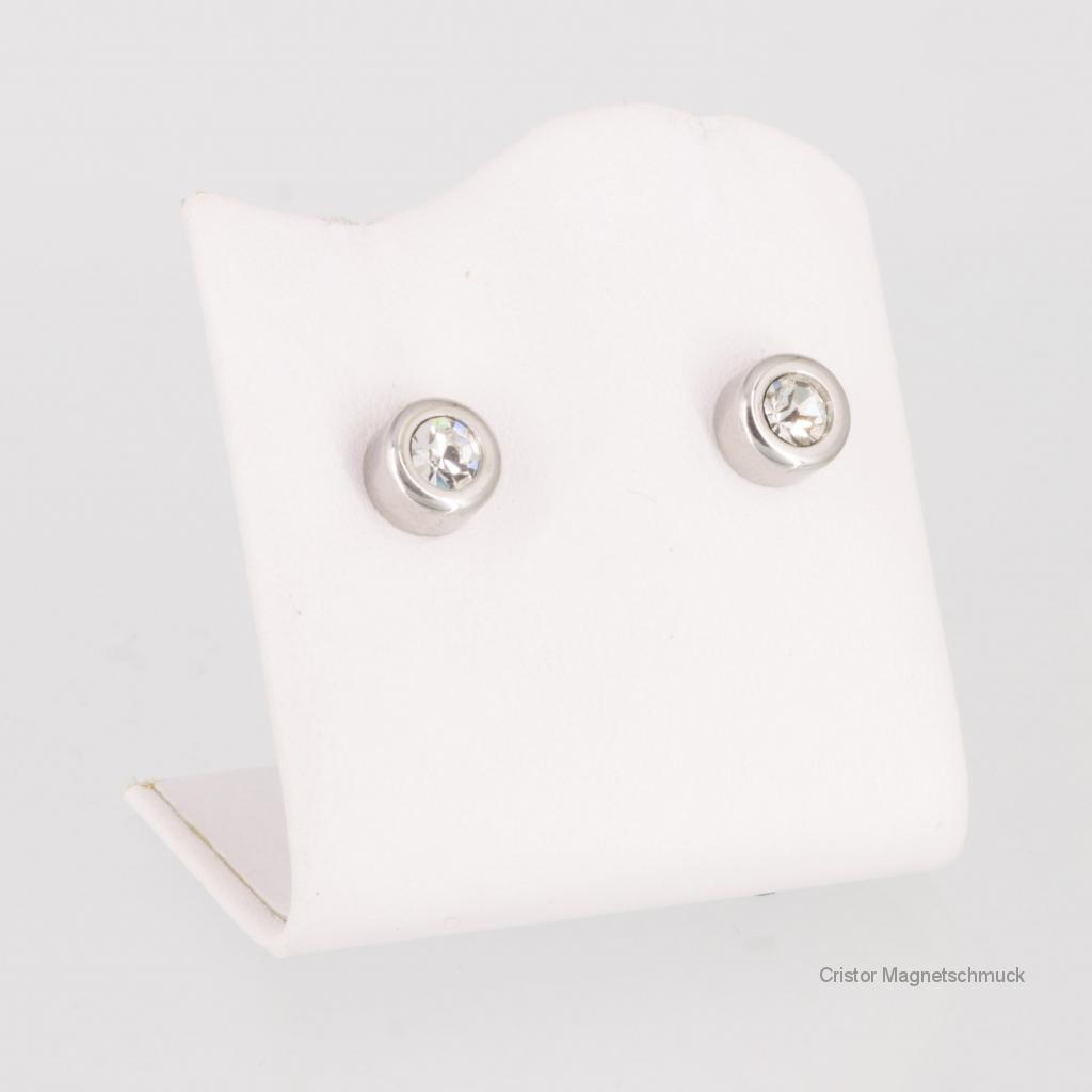8093SZSet - Magnetschmuckset silberfarben mit weißen Zirkonia