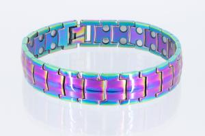 8901Mb - Doppelreihiges Magnetarmband metallfarbig