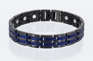 T8327BLblau - Titan-Energiearmband schwarz mit blau