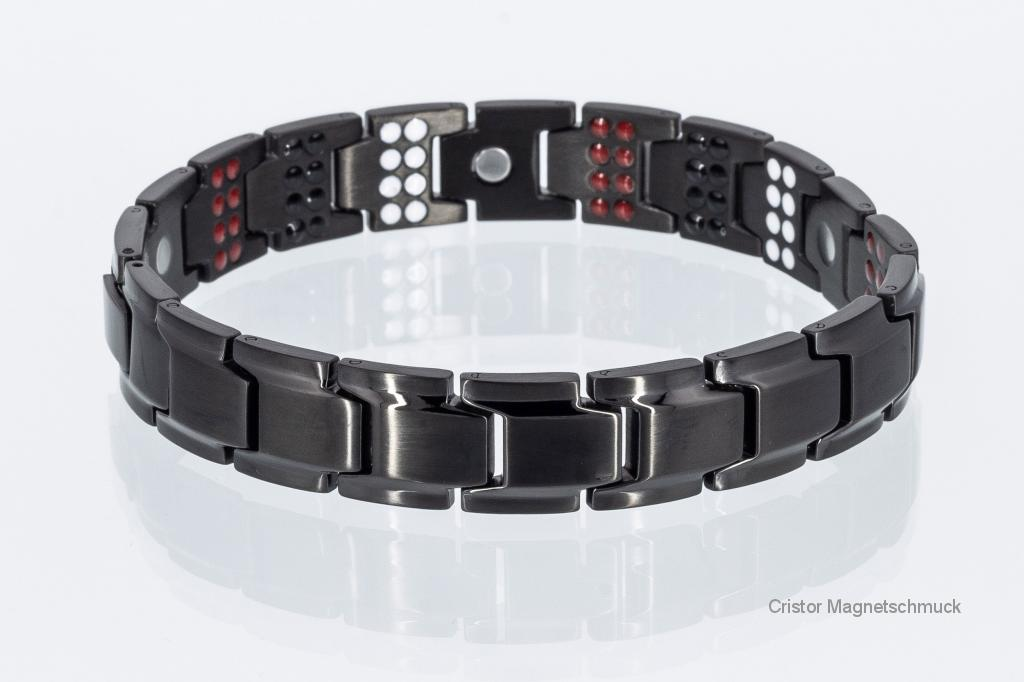 E8262BLe - 4-Elemente Armband schwarz mit extravielen Einlagen