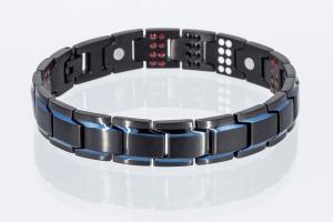 4-Elemente Armband schwarz blau mit extravielen Einlagen - e8262blblaue