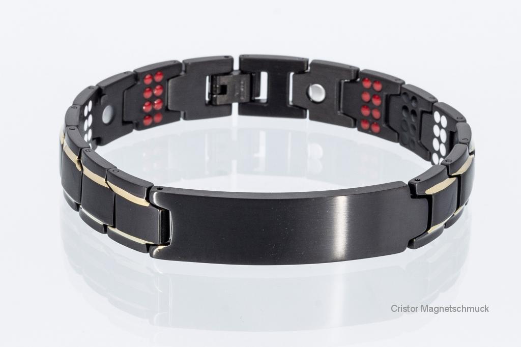 E8354BLGe - 4-Elemente Armband schwarz gold mit extravielen Einlagen