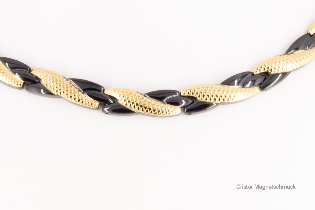 H9059BLG - Magnethalskette schwarz gold