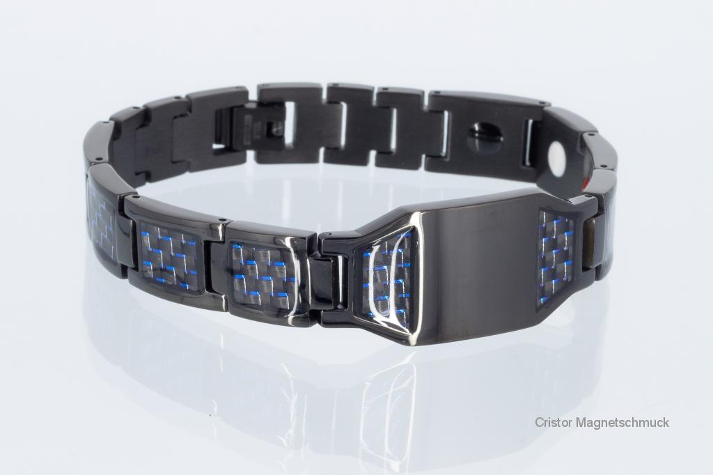 E8314BLblau - 4-Elemente Armband schwarz mit blauer Carbonfaser