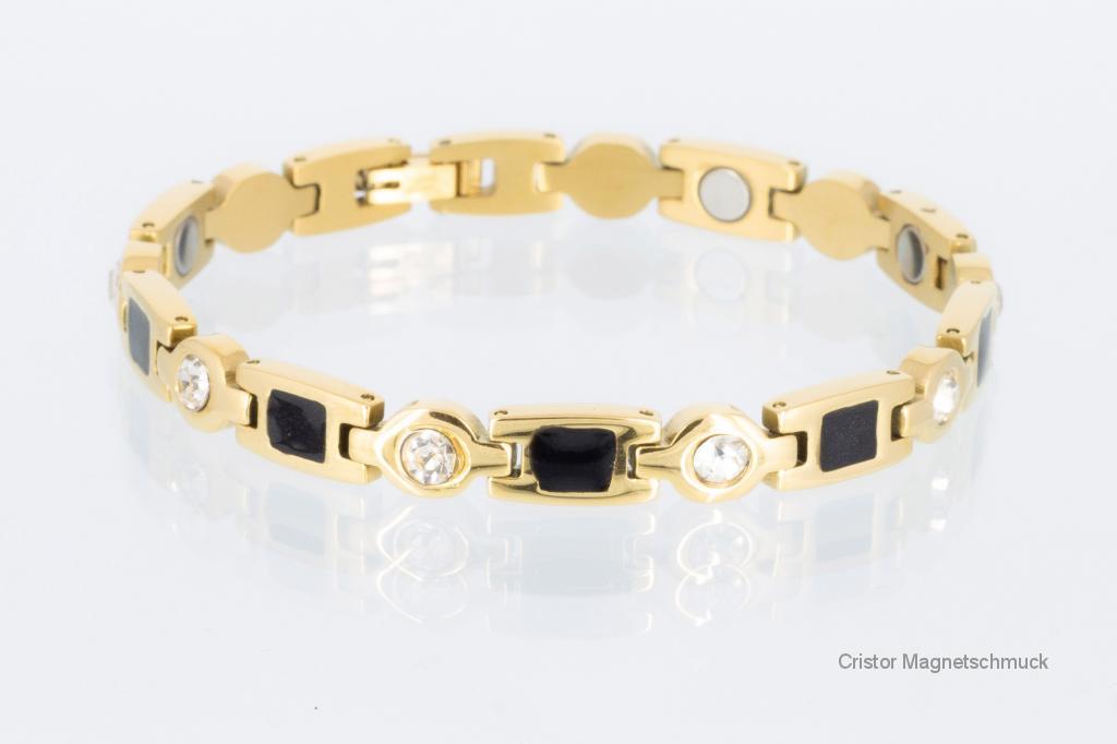 8848BLGZ - Magnetarmband goldfarben mit Zirkonia und schwarzen Einlagen