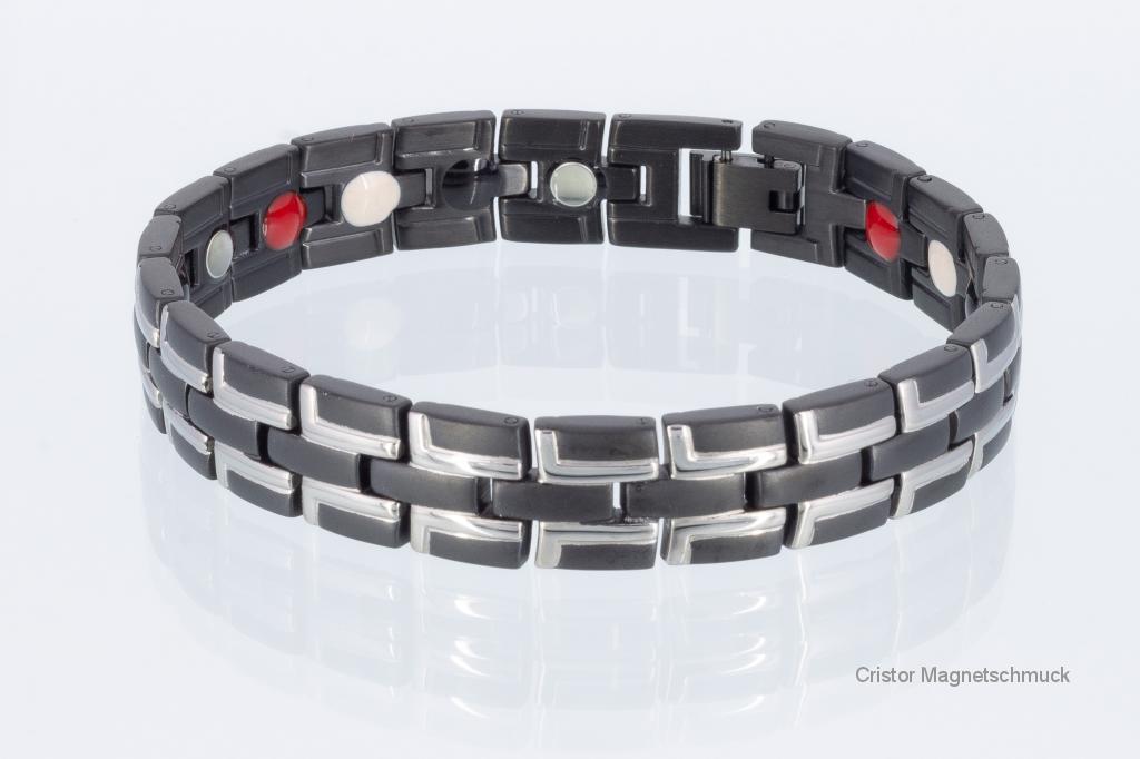 TE8035BLS - Titan-Energiearmband silber schwarz