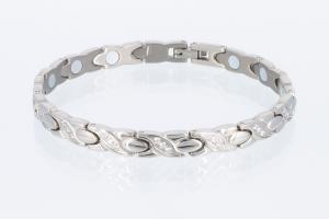 T8750SZ2 - Titanarmband silberfarben mit weißen Zirkoniasteinen