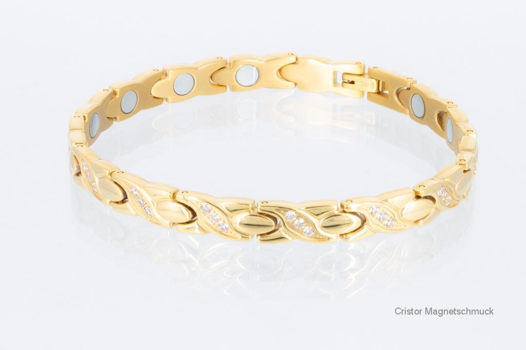 T8750GZ2 - Titanarmband goldfarben mit weißen Zirkoniasteinen