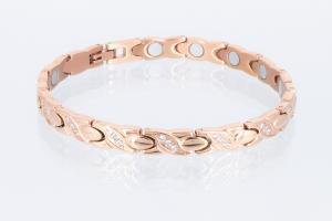 T8750RGZ2 - Titanarmband rosegoldfarben mit weißen Zirkoniasteinen