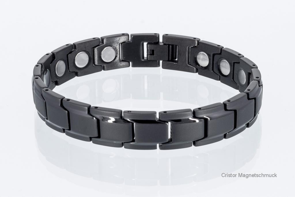 8262BL4P - Magnetarmbänder als Partnerset schwarz mit extra-starken Magneten