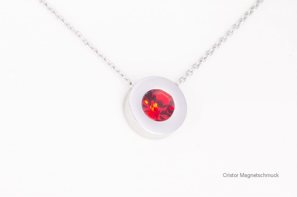 A1282SZi - Magnetanhänger silberfarben mit rotem Zirkonia