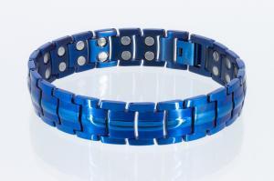 T8901blaub - Doppelreihiges Titan-Magnetarmband blau