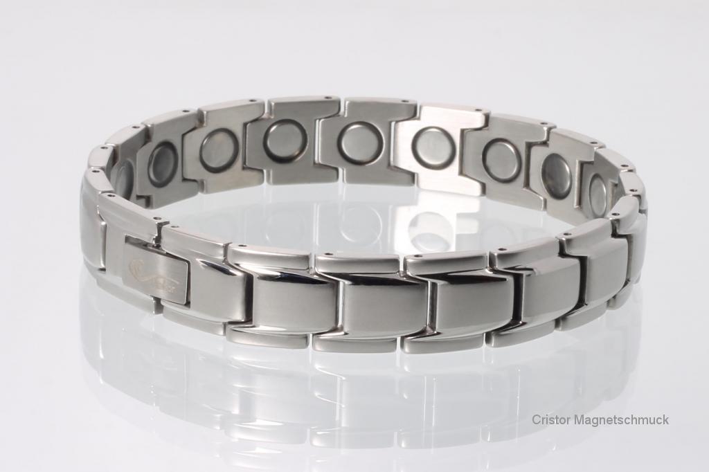 8262S4P - Magnetarmbänder als Partnerset silberfarben